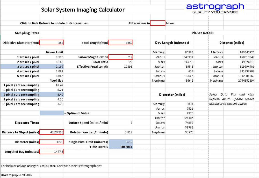 Solar System Imaging Calculator - Excel